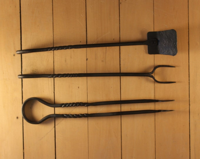Hand forge rustic metal barbeque 3pc set.  Blacksmith made. BBQ tongs, BBQ fork, BBQ spatula.  Great father's day gift. Grill tools