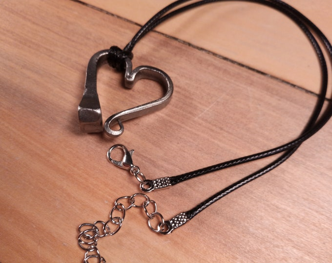 Farrier's Heart pendent necklace.  Blacksmith forged, Valentine's day gift, 6th (iron) or 11th (steel) anniversary. Horse shoe nail heart.