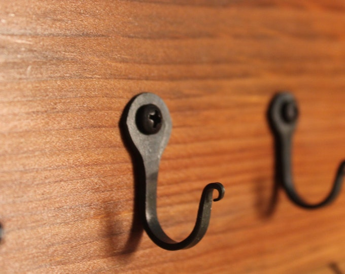 """2 Small Rustic Metal Wall Hooks 1 1/4"""" (32mm) Nail hooks lot, Blacksmith made, Great for jewelry, keys, necklace, rings, organizer, utensils"""
