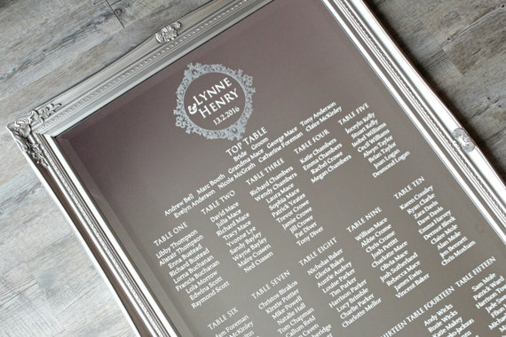 Mirror Wedding Table Plan Diy Modern Luxury Seating Plan