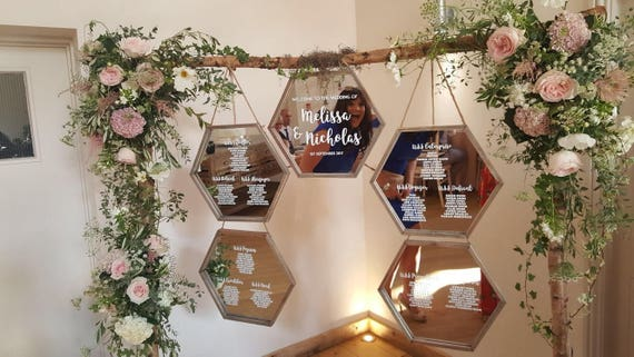Wedding Table Plan With Small Mirrorglass Frames Vinyl Etsy