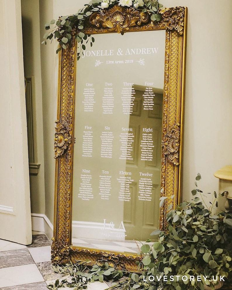 Mirror Wedding Table Plan  Mirror Seating Chart  Full Length image 0