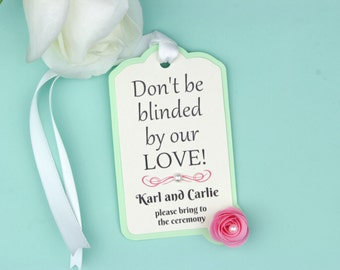 Blinded by Our Love • Sunglasses Wedding Favour Gift Tag • Original Creative Favours • Destination Wedding • Reception Stationary