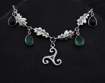 Celtic Triskele Oak Leaf Necklace Sterling Silver Pagan Jewelry. Green Black Onyx Necklace Witch Jewelry. Celtic Necklace Scottish Jewelry