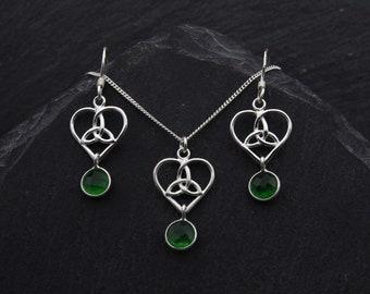 Celtic Bridal Jewelry Set Sterling Silver Celtic Jewelry. Emerald Green Jade Earrings Trinity Heart Necklace Outlander Jewelry Irish Gifts
