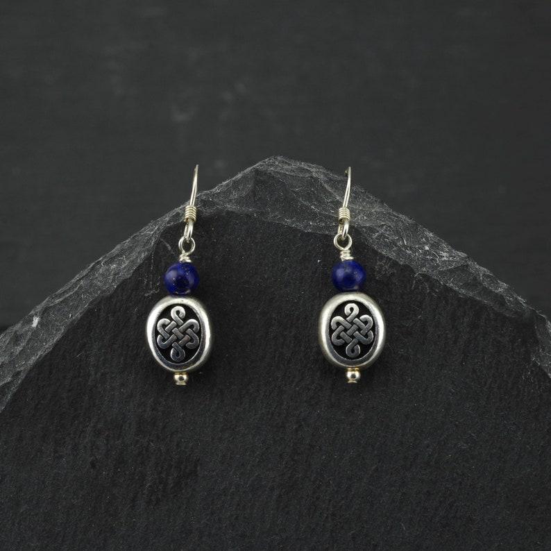 52c904c81 Celtic infinity knot earrings blue lapis lazuli sterling | Etsy