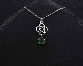 Celtic Emerald Green Jade Necklace Sterling Silver Outlander Jewelry. Celtic Necklace Witch Jewelry Scottish Gifts. May Birthstone Jewelry