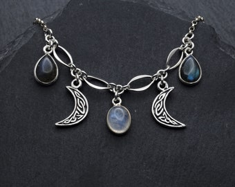 Celtic Triple Moon Moonstone Necklace Sterling Silver Labradorite Jewelry. Moon Necklace Witch Jewelry. June Birthstone Moon Goddess jewelry