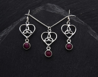 Celtic Bridal Jewelry Set Sterling Silver Ruby Earrings Celtic Jewelry. Trinity Heart Necklace Outlander Jewelry Scottish Gifts. Birthstone