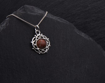 Celtic Red Lewisian Gneiss Necklace Sterling Silver Scottish Jewelry Gift. Celtic Necklace Outlander Jewelry Isle of Lewis Gneiss Scotland