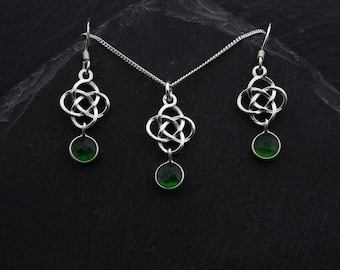 Celtic Green Jade Jewelry Set Sterling Silver. Emerald Green Jade Necklace Witch Earrings Outlander Jewelry. May Birthstone Jewelry Gift Set
