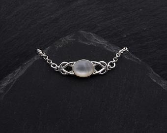 Celtic Knot Mother of Pearl Bracelet Sterling Silver Celtic Jewelry. Witch Bracelet Elven Jewelry Gift. Wedding Bracelet Outlander Jewelry