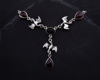 Dance of Dragons Necklace Sterling Silver Red Garnet Black Onyx Gemstones. Gothic Dragon Pendant Game of Thrones Jewelry Scottish Gifts