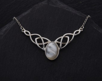 Mother Of Pearl Necklace Celtic Trinity Knot Sterling Silver Wedding Jewelry. Pagan Necklace Witch Jewelry Scottish Gifts. Elven Jewelry