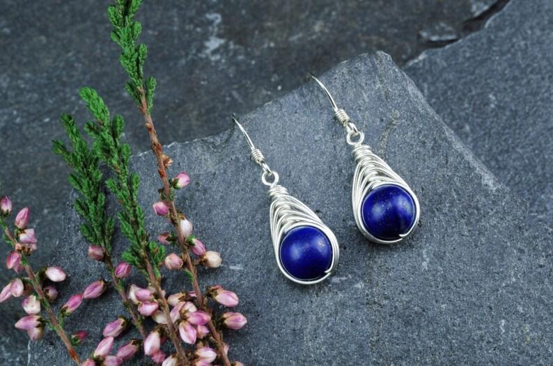 fee81f953 Celtic Lapis-Lazuli Earrings in Sterling Silver. September | Etsy