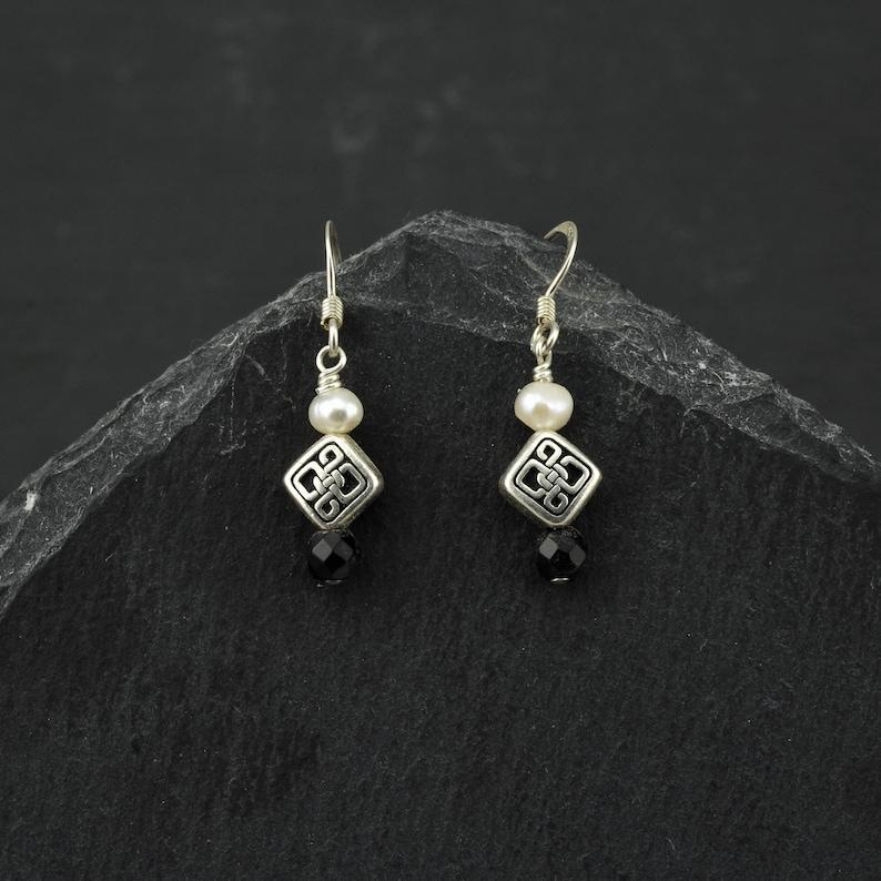 ce490473d Celtic earrings eternity knot black onyx freshwater pearls | Etsy