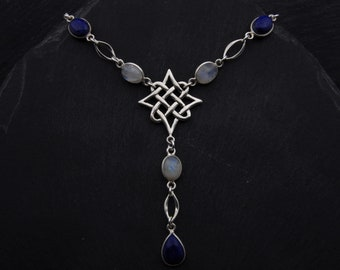 Celtic North Star Necklace Sterling Silver Moonstone Necklace Lapis Lazuli Jewelry. Celtic Necklace Scottish Jewelry Gift. Viking Necklace