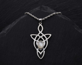 Celtic Trinity Love Knot Mother Of Pearl Necklace Sterling Silver Celtic Necklace Elven Jewelry Outlander Gifts. Many Gemstones Available