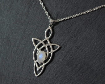 Celtic Trinity Love Knot Moonstone Necklace Sterling Silver Jewelry. Celtic Necklace Elven Jewelry Outlander Gifts. More Gemstones Available