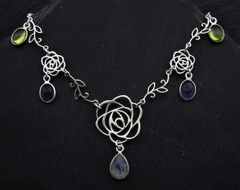 Edwardian Rose Suffragette Necklace Sterling Silver Moonstone Necklace Feminist Jewelry. Amethyst Necklace Peridot Jewelry. Rose Necklace