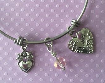 Valentine Hearts and Pink Crystal Charm Bracelet