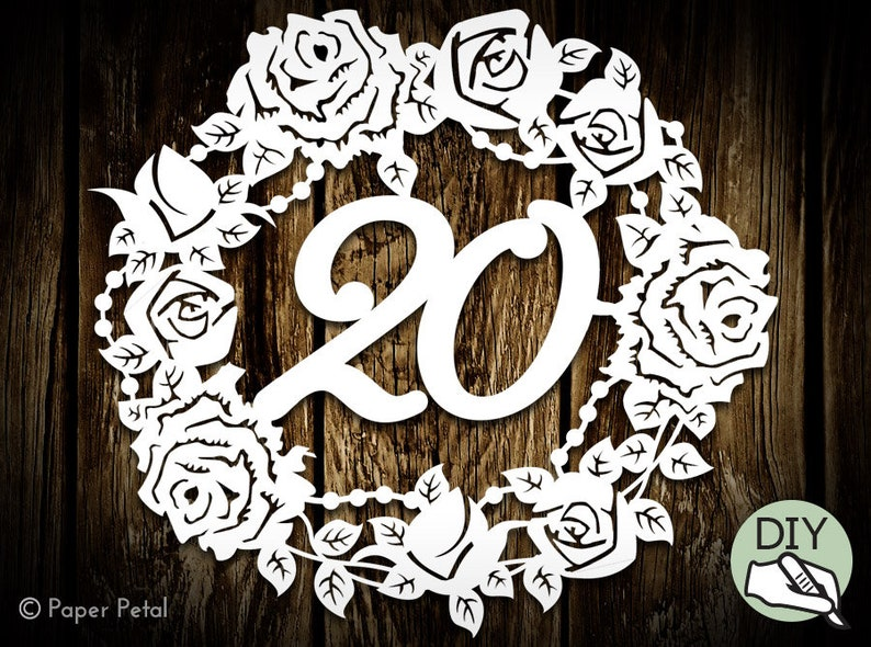 20th Birthday Papercut Template Poster Commercial License PDF image 0