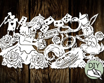 Alice Wonderland Papercut DIY template drink me - digital download