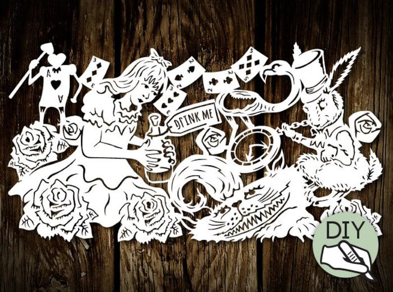 Papercut Template 'Alice in Wonderland Drink Me' PDF image 0