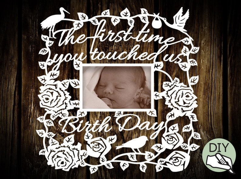 New Born Baby Picture Frame Papercut Template PDF PNG for image 0