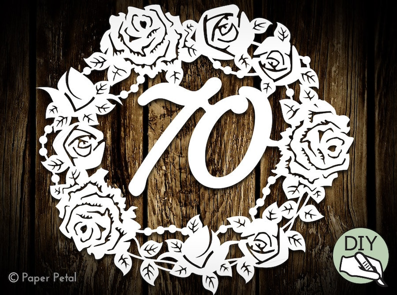 70th Birthday Floral Roses Papercut Template Commercial image 0