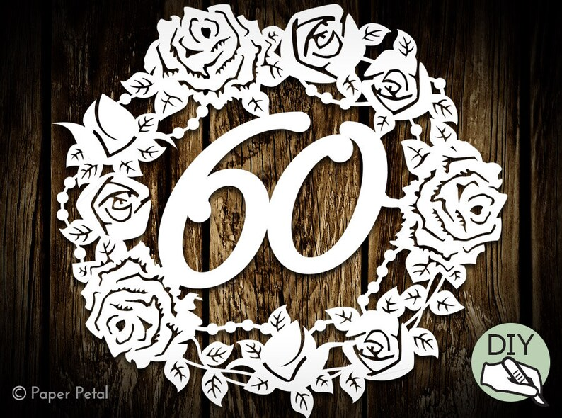 60th Birthday Papercut Template Flowers Commercial License PDF image 0