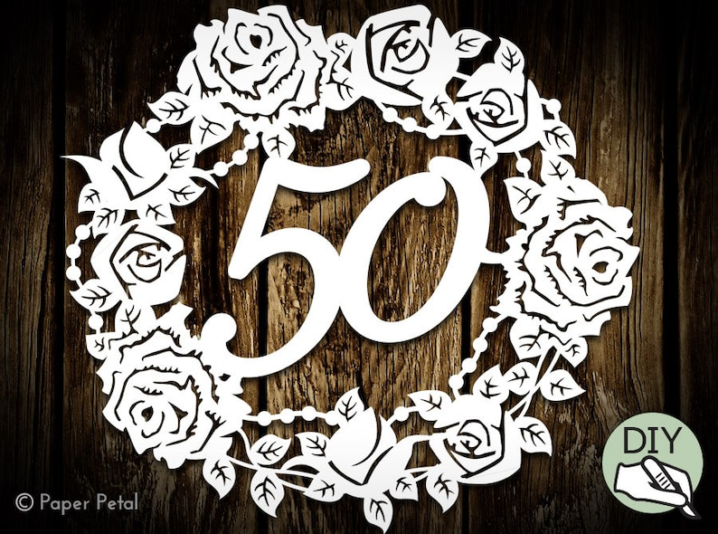 50th Birthday Papercut Template Wreath Commercial License PDF image 0