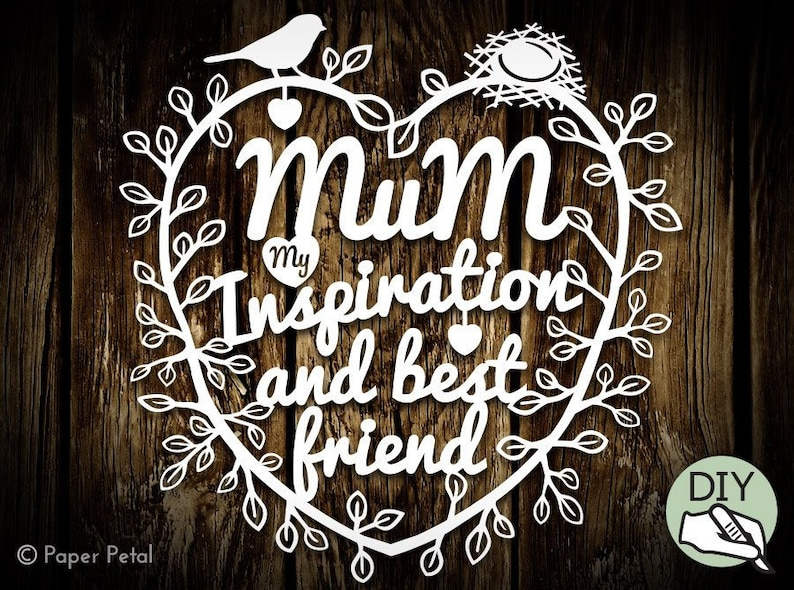 Mothers Day Paper Cut Template Frame or Cushion Print image 0