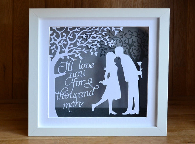 The Kiss  personalised papercut  traditional 1st anniversary image 0