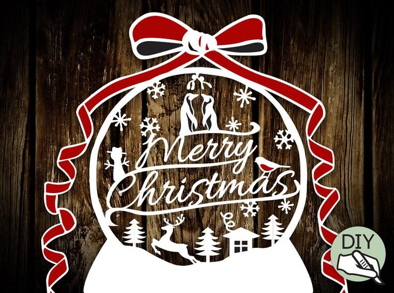 Papercut DIY template Christmas Snowglobe  digital download image 0