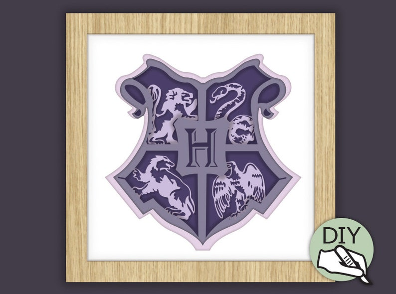 Harry Potter Papercut Template PDF PNG for handcutting & SVG image 0