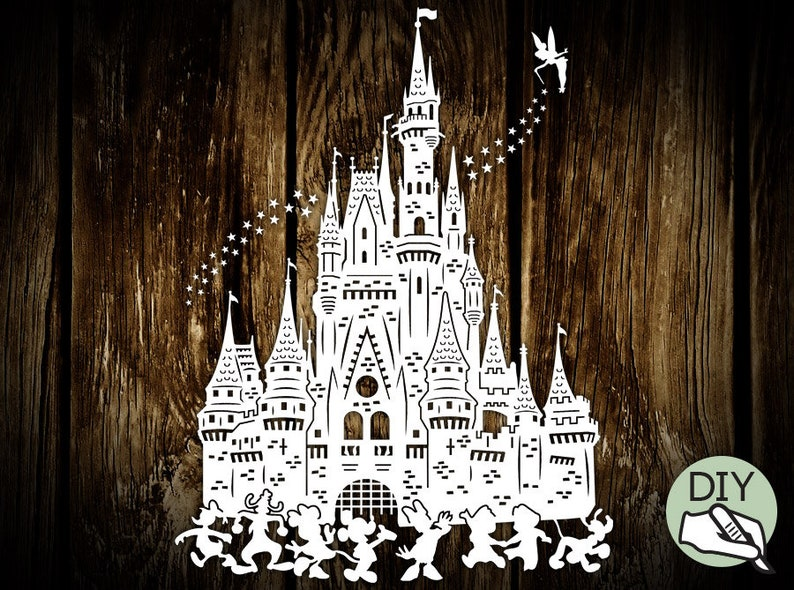 Disney Castle Papercut Template Poster PDF PNG for handcutting image 0