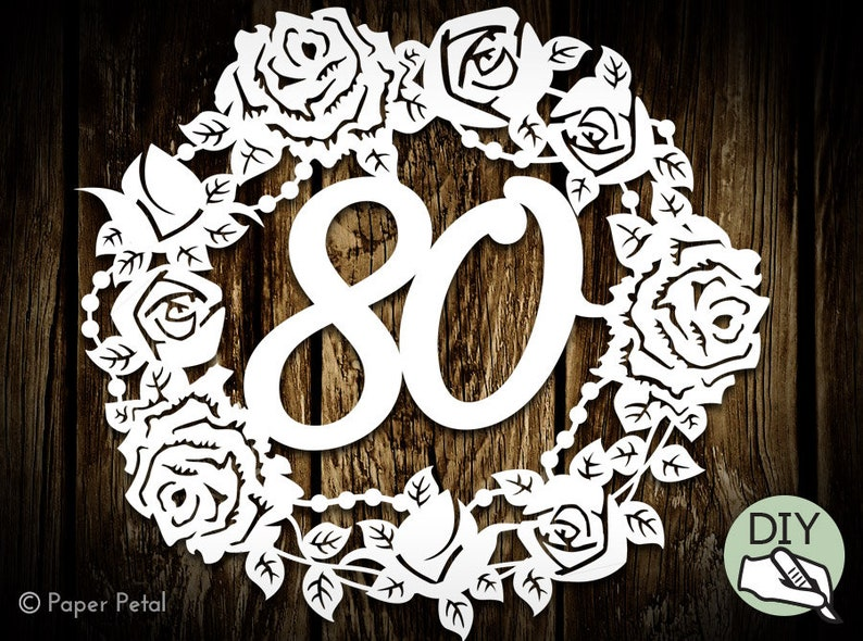 80th Birthday Papercut Template Present Commercial License PDF image 0