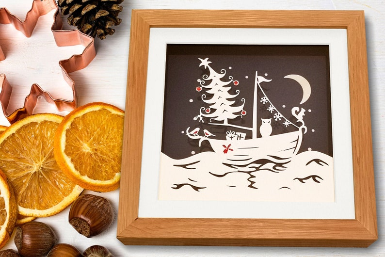 Festive Voyage Christmas papercut framed art  ideal gift image 0