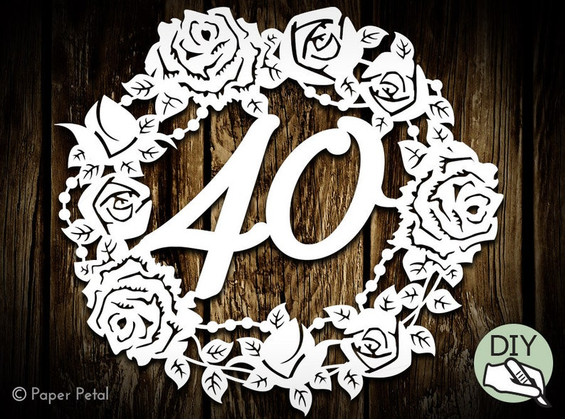 40th Birthday Papercut Template Poster Commercial License PDF image 0
