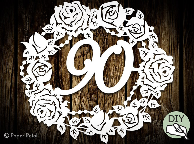 90th Birthday Papercut Template Picture Commercial License PDF image 0
