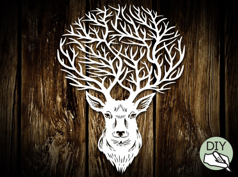 Reindeer Stag Papercut Template PDF PNG for handcutting & SVG image 0