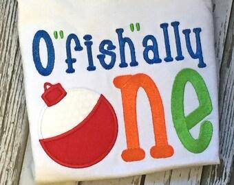 "Boy's First Birthday O""fish""ally One-First Birthday O""fish""ally One T-Shirt-Custom Boy's First Birthday T-Shirt"