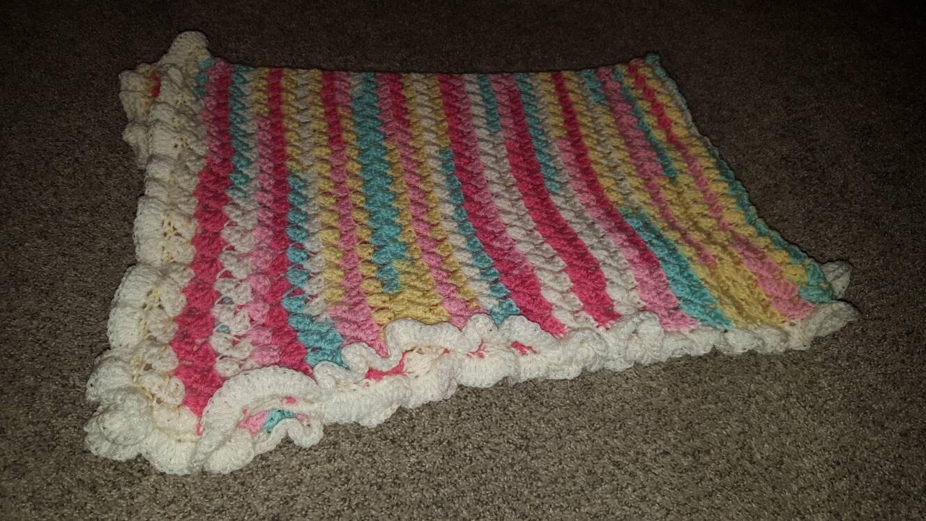 Crochet Ruffled Lace Baby Girl Afghan Blanket Variegated Yarn Etsy