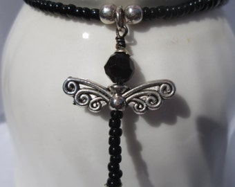 Black Dragonfly Beaded Necklace