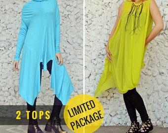 2 in 1: Asymmetrical Light Blue Top TT102 and Mustard Summer Top TT85 by TEYXO, Limited Edition