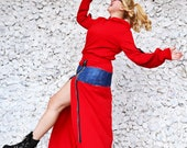Sweat Skirt for Women, Red Patchwork Denim Skirt, Maxi Sweatshirt Skirt, Sport Wear Skirt TS40