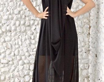 719fb75c40e Extravagant Black Jumpsuit   Classy Sheer Jumpsuit with Underneath Little  Black Dress   Plus Size Jumpsuit TJ19
