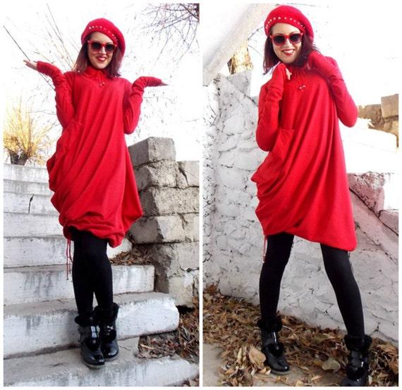 Asymmetric Dress Tunic Oversize Top Long Red Sleeves Loose Asymmetric TDK05 Extravagant a1z4nxaW