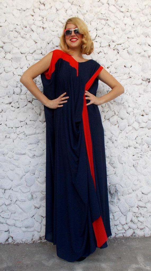 Maxi Navy TDK90 Size Navy Plus Dress Oversize Chiffon Kaftan 1HngqFw